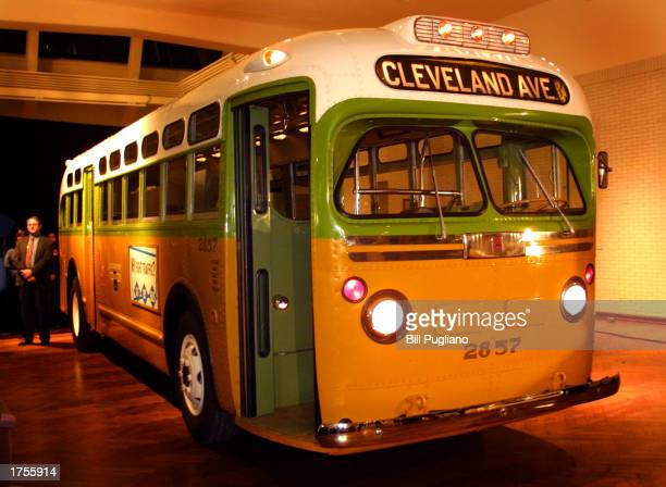 The newly restored Montgomery, Alabama bus where Rosa Parks refused to give up her seat to a white man, is rolled out to its permanent display...