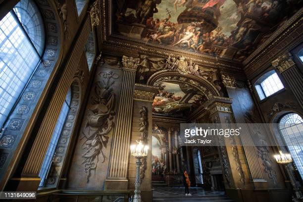 The newly restored Painted Hall is pictured at the Old Royal Naval College on March 20 2019 in London England The Painted Hall designed by Sir...