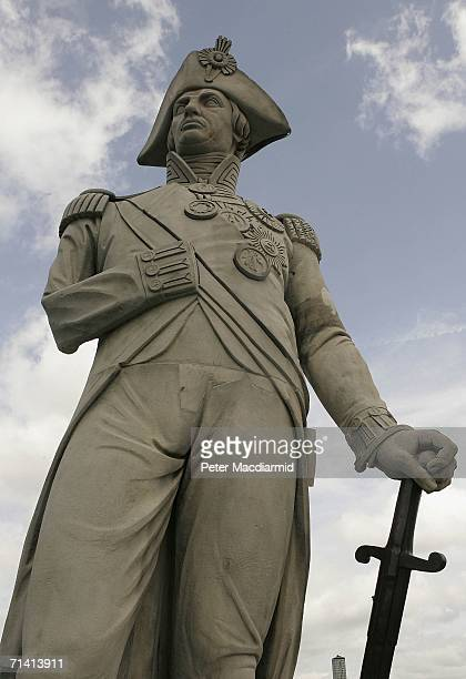 The newly restored statue of Naval hero Lord Nelson is unveiled with cleaned and refreshed stonework in Trafalgar Square on July 11 2006 in London...