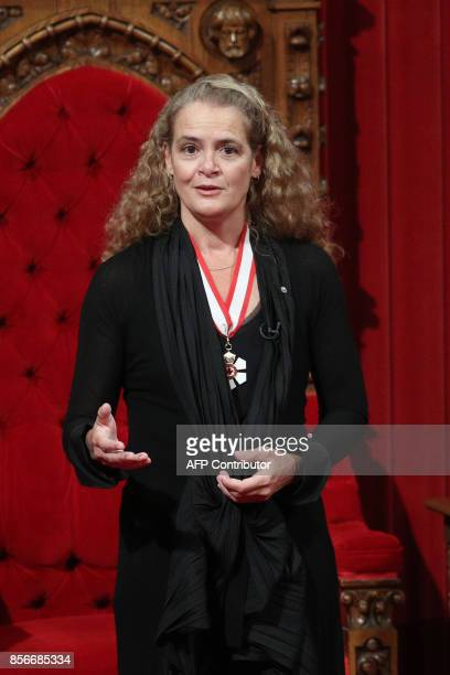 The newly sworn in Governor General Julie Payette delivers her speech in Senate chamber on Parliament Hill in Ottawa, Ontario, October 2, 2017....