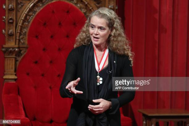 The newly sworn in Governor general Julie Payette delivers her speech in the Senate in Ottawa, Ontario, October 2, 2017. Former astronaut Julie...