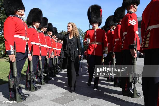 The newly sworn in Governor general Julie Payette inspects the honour guard at Rideau hall in Ottawa, Ontario, October 2, 2017. Former astronaut...