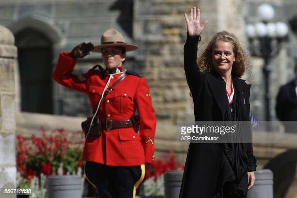The newly sworn in Governor General Julie Payette waves to guests on the Parliament Hill in Ottawa, Ontario, October 2, 2017. Former astronaut Julie...