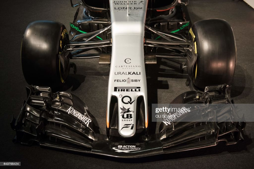 The newly unveiled Sahara Force India Formula One car for the 2017 ...