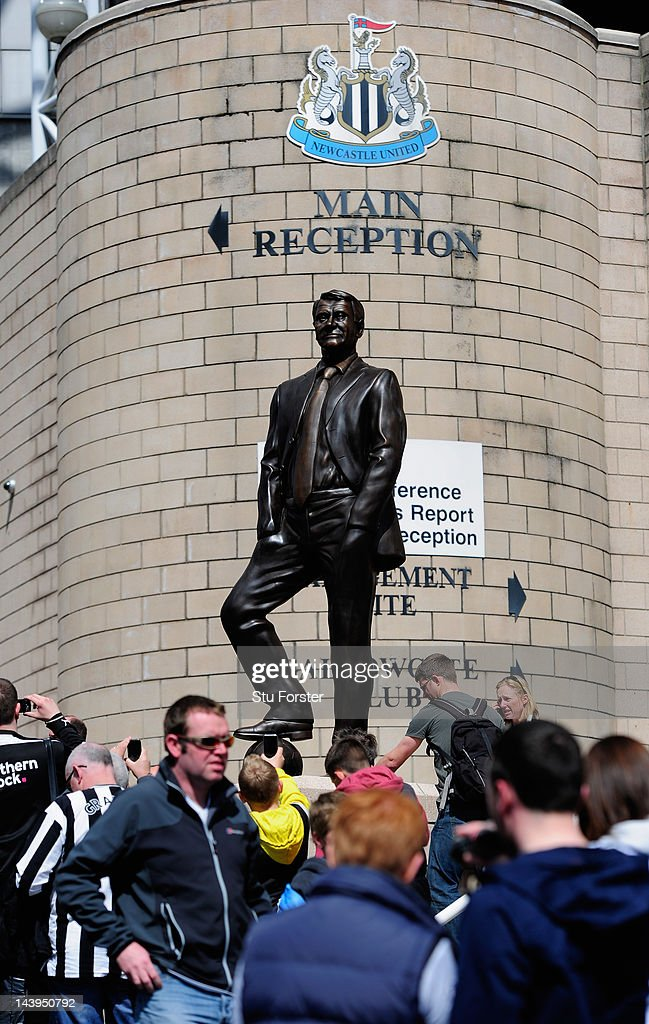 The newly unveiled Sir Bobby Robson statue stands outside Sports Direct Arena before the Barclays Premier league match between Newcastle United and Manchester City at Sports Direct Arena on May 6, 2012 in Newcastle upon Tyne, England.