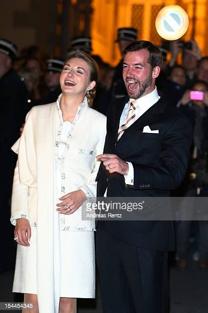 The newly wed couple Princess Stephanie of Luxembourg and Prince Guillaume of Luxembourg attend the fireworks performance following their wedding on...