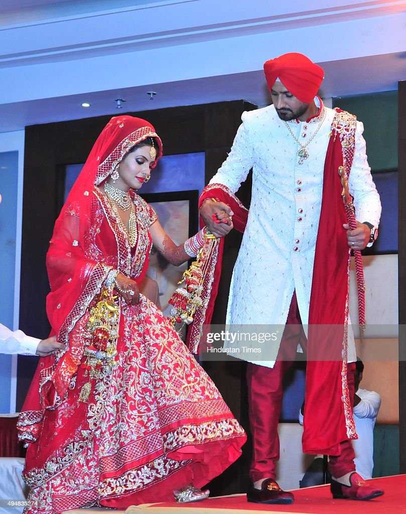 The newly wedded couple Indian cricketer Harbharjan Singh and Geeta Basra coming for photoshoot after their marriage on October 29 2015 at a resort...