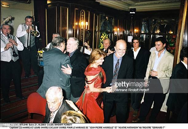 The newly weds and their guests party for the wedding of Jean Pierre Marielle and Agathe Natanson at the theater Edouard VII