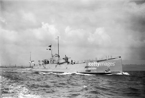 The newlycommissioned Royal Navy submarine 'HMS X1' leaves Chatham Dockyard in Kent 12th September 1925