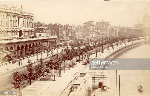 The newlycompleted Thames Embankment with Somerset House on the left London circa 1865