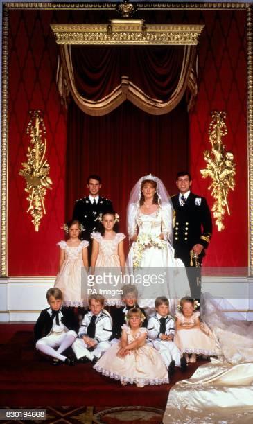 The newlywed Duke and Duchess of York with Prince Edward Children Alice Ferguson Lady Posanagh InnesKer Seated children lr Andrew Ferguson Seamus...