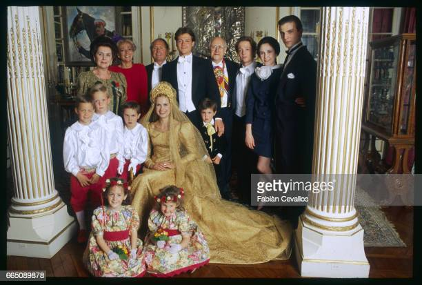 The newlyweds and their families at the orthodox church from left Galina Vitchnevskaia Martine Guerrand Patrick Guerrand the groom Olaf...