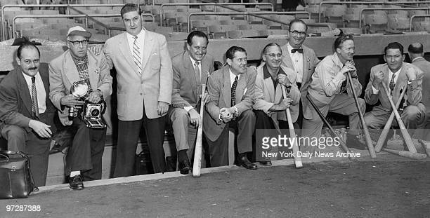 The News Team of World Series photographers stand on steps of Yankee Stadium dugout before taking the field They are Leroy Jacob Tom Watson Walter...