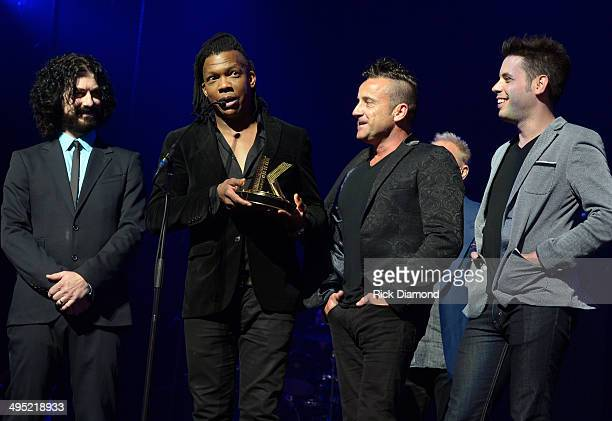 The Newsboys accept the award for Film/Television Impact at the 2nd Annual KLOVE Fan Awards at the Grand Ole Opry House on June 1 2014 in Nashville...