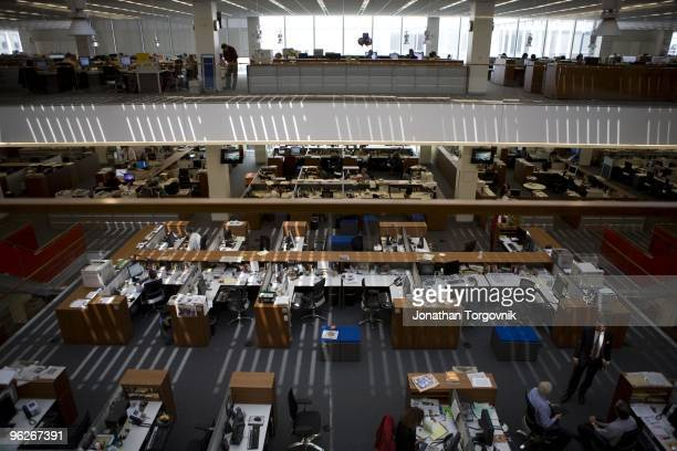 The newsroom at the New York Times building, designed by architect Renzo Piano on 8th Avenue at 43rd Street May, 2008 in New York City. The newsroom...