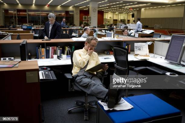 The newsroom at the New York Times building May, 2008 in New York City. The newsroom is mostly active from 6pm when the editors begin working on the...
