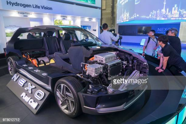 The Nexo, a hydrogen fuel-cell powered car, is exhibited at the Consumer Electronics Show Asia in Shanghai on June 13, 2018. / China OUT