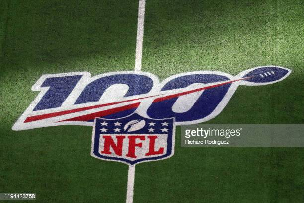 The NFL 100 logo on the field at AT&T Stadium on December 15, 2019 in Arlington, Texas.
