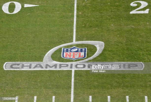 The NFL Championship logo is seen on the field before the AFC Championship Game between the Kansas City Chiefs and the Tennessee Titans at Arrowhead...