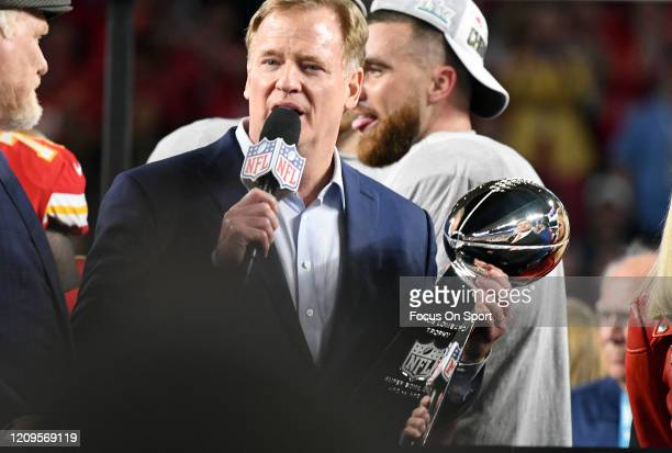The NFL Commissioner Roger Goodell presents the Lombardi Trophy after the Kansas City Chiefs defeated the San Francisco 49ers in Super Bowl LIV at...