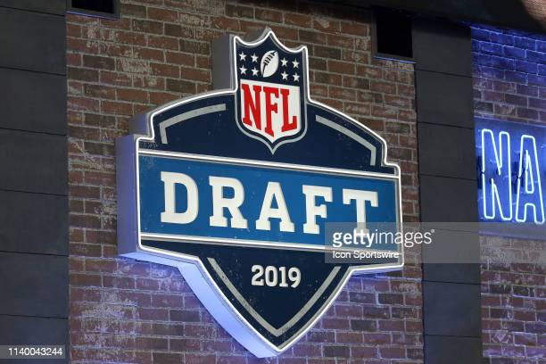 The NFL Draft logo is displayed during the first round of the 2019 NFL Draft on April 25 at the Draft Main Stage on Lower Broadway in downtown...