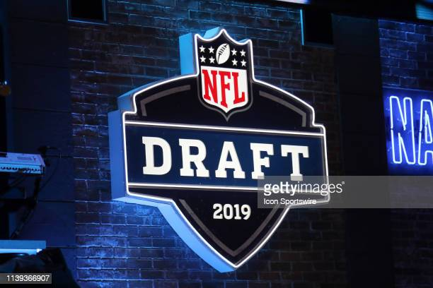 The NFL draft logo is on display during the first round of the 2019 NFL Draft on April 25 at the Draft Main Stage on Lower Broadway in downtown...
