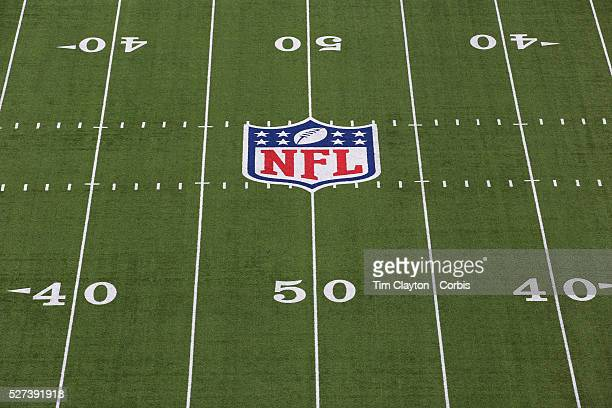 The NFL logo and American Football field markings on the surface of MetLife Stadium during the New York Jets V New England Patriots NFL regular...