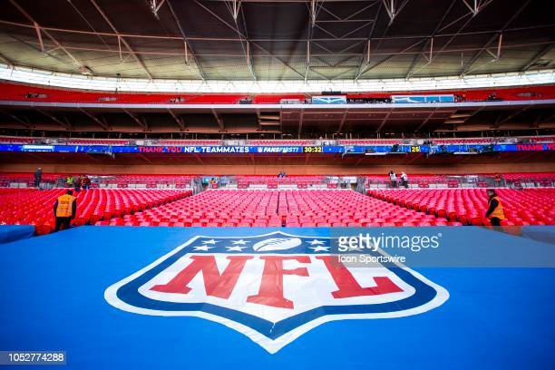 The NFL logo awaits the crowds before the doors open to fans at the NFL game between the Tennessee Titans and the Los Angeles Chargers on October 21...
