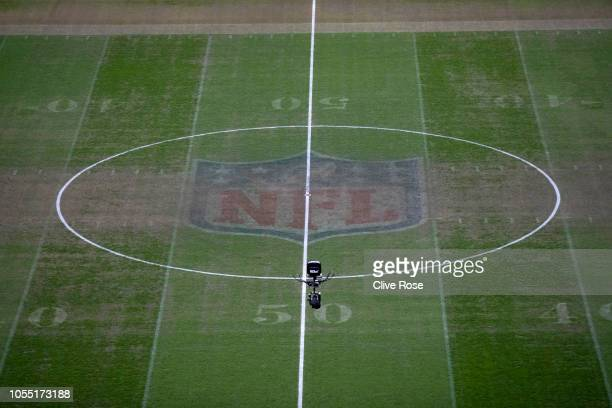 The NFL logo is seen on the pitch prior to the Premier League match between Tottenham Hotspur and Manchester City at Tottenham Hotspur Stadium on...