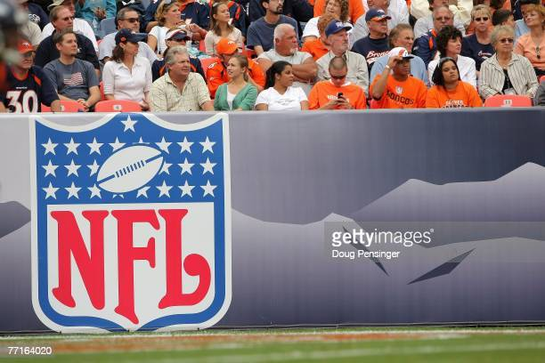 The NFL Logo is shown during the Denver Broncos game against the Jacksonville Jaguars at Invesco Field at Mile High on September 23 2007 in Denver...