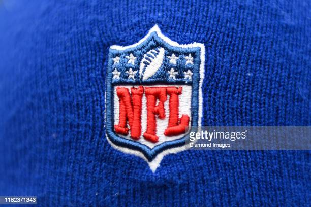 The NFL logo on a stocking cap prior to a game between the Buffalo Bills and Cleveland Browns on November 10 2019 at FirstEnergy Stadium in Cleveland...