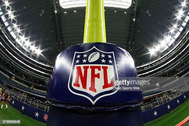 The NFL logo on goal post prior to a NFL preseason season game between the Minnesota Vikings and Dallas Cowboys at AT&T Stadium in Arlington, TX.