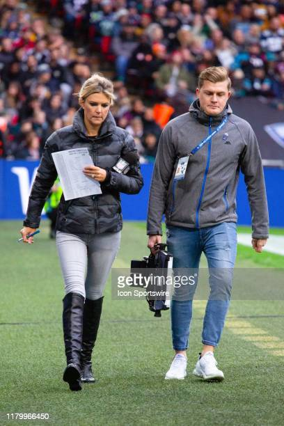 The NFL Network's Melissa Stark walks the sideline during the NFL game between the Houston Texans and the Jacksonville Jaguars on November 03 2019 at...