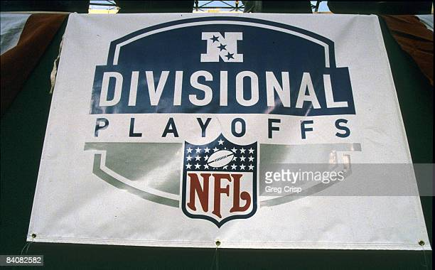 The NFL shield emblazons the stadium for the NFC Divisional Playoff a 2010 New York Giants victory over the Philadelphia Eagles on January 7 at...