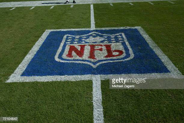 The NFL Shield logo is shown on the field before the San Francisco 49ers play against the Kansas City Chiefs at Arrowhead Stadium on October 1 2006...