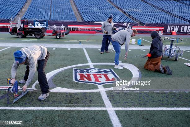 The NFL Wild Card logo is painted onto the field at Gillette during press conferences in advance of the AFC Wild Card Game between the New England...