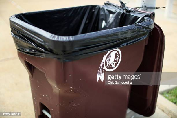 The NFL's Washington Redskin's logo even adorns trash cans outside the gates of FedEx Field July 13 2020 in Landover Maryland The team announced...