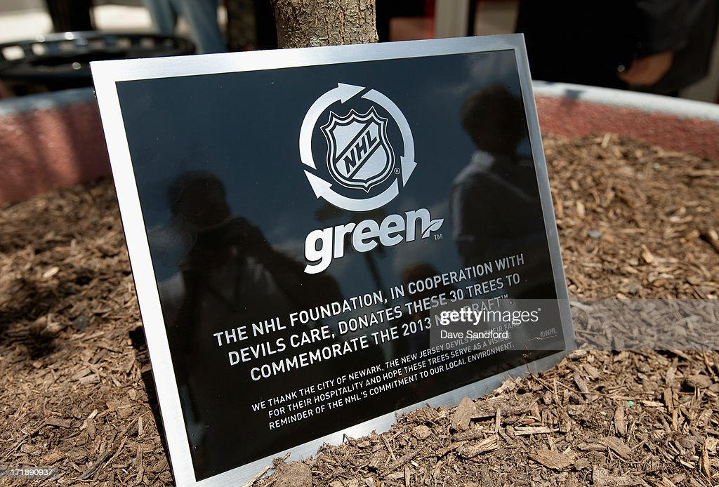 The NHL Green initiative plaque is seen during the New Jersey Legacy Tree Project Press Conference at Prudential Center on June 29, 2013 in Newark, New Jersey. As part of the NHL's commitment to support the local environment of host cities for NHL events through its NHL Green initiative, the NHL Foundation has donated 30 trees to the Devils Care Foundation.