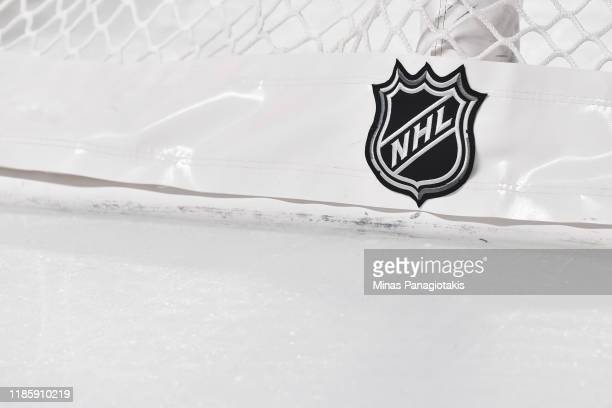 The NHL logo on the back of the goal netting between the Montreal Canadiens and the Boston Bruins at the Bell Centre on November 5, 2019 in Montreal,...