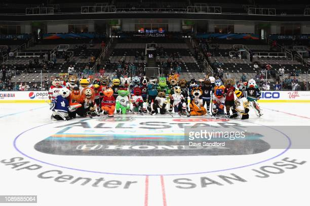 The NHL Mascots pose for a group photo during the 2019 NHL AllStar Mascot Showdown at the SAP Center on January 24 2019 in San Jose California