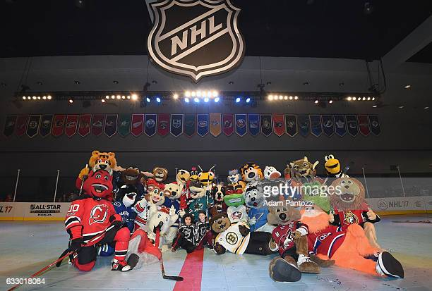 The NHL mascots pose together after the Mascot Showdown at Fan Fair as part of the 2017 NHL AllStar Weekend at the Los Angeles Convention Center on...