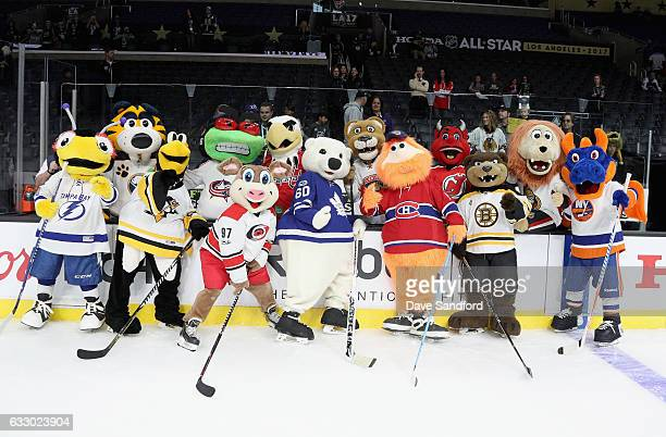 The NHL mascots pose together after the Mascot Showdown before the 2017 Honda NHL AllStar Game at Staples Center on January 29 2017 in Los Angeles...