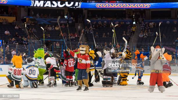 The NHL mascots salute the fans after the mascot game prior to the NHL AllStar Game on January 28 at Amalie Arena in Tampa FL