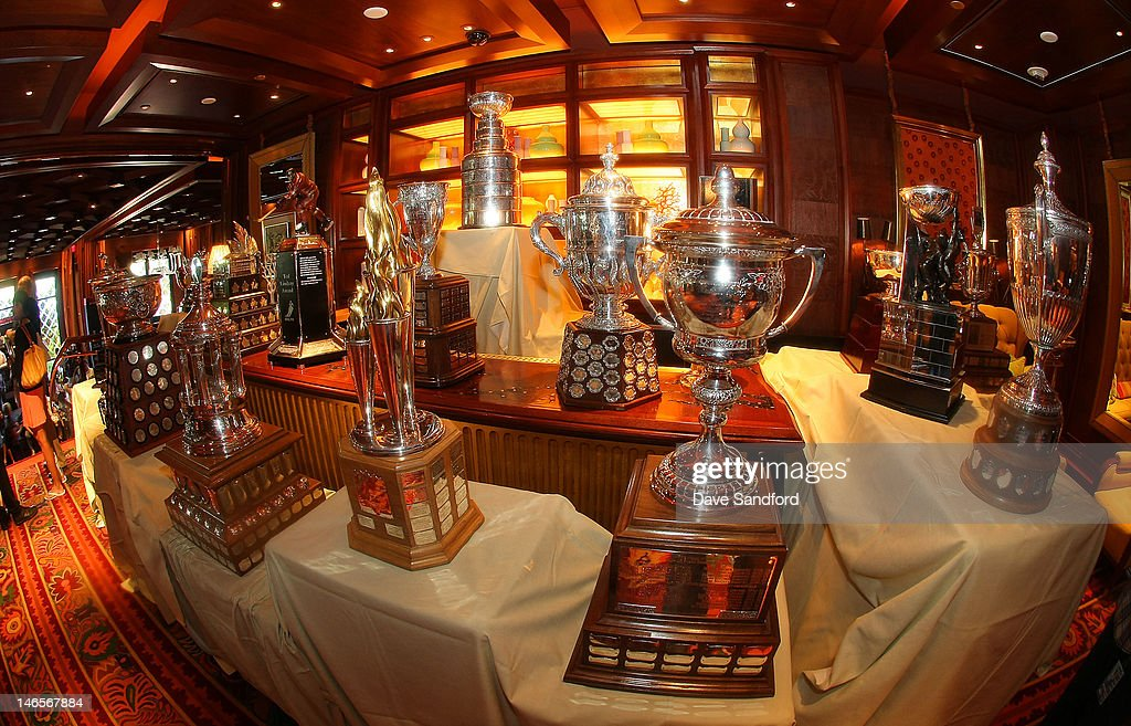 The NHL trophies on display during the 2012 NHL Awards Nominee Media Availability at the Wynn Las Vegas Resort on June 19, 2012 in Las Vegas, Nevada.