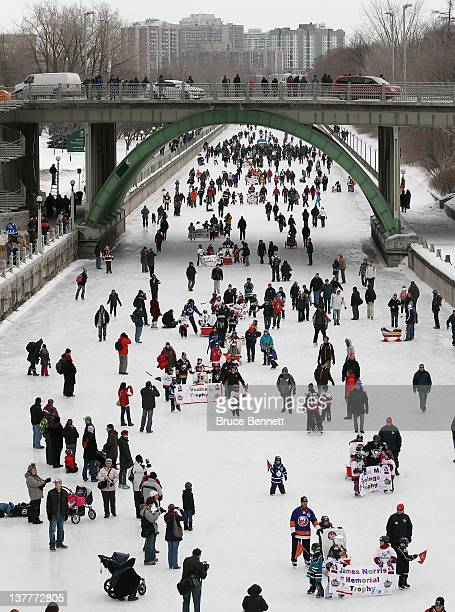 The NHL Trophy Procession winds its way along Rideau Canal to kick off the NHL All-Star Festivities on January 27, 2012 in Ottawa, Canada.