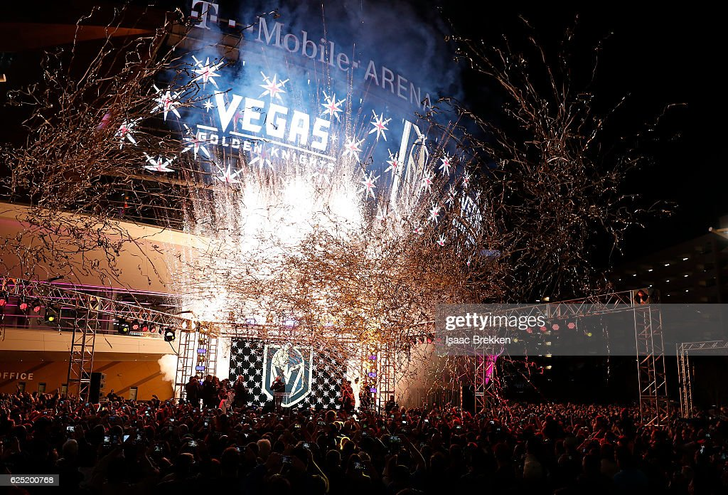 The NHL unveils the new logo and name for the Vegas Golden Knights in Toshiba Plaza at T-Mobile Arena November 22, 2016 in Las Vegas, Nevada. The Golden Knights will begin play in the 2017-18 season.