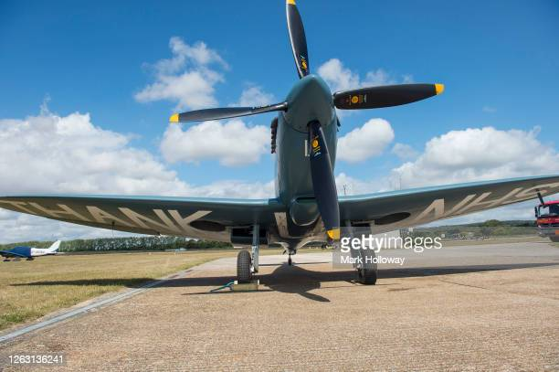 The NHS Spitfire at Goodwood on August 01 2020 in Chichester England The 'Thank U NHS' Spitfire will take to the skies today to celebrate the work of...