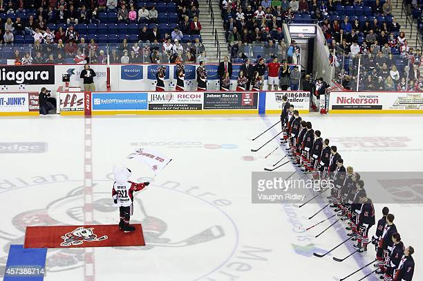 The Niagara Ice Dogs are presented to the crowd prior to the OHL game between the Belleville Bulls and the Niagara Ice Dogs at the Meridian Centre on...