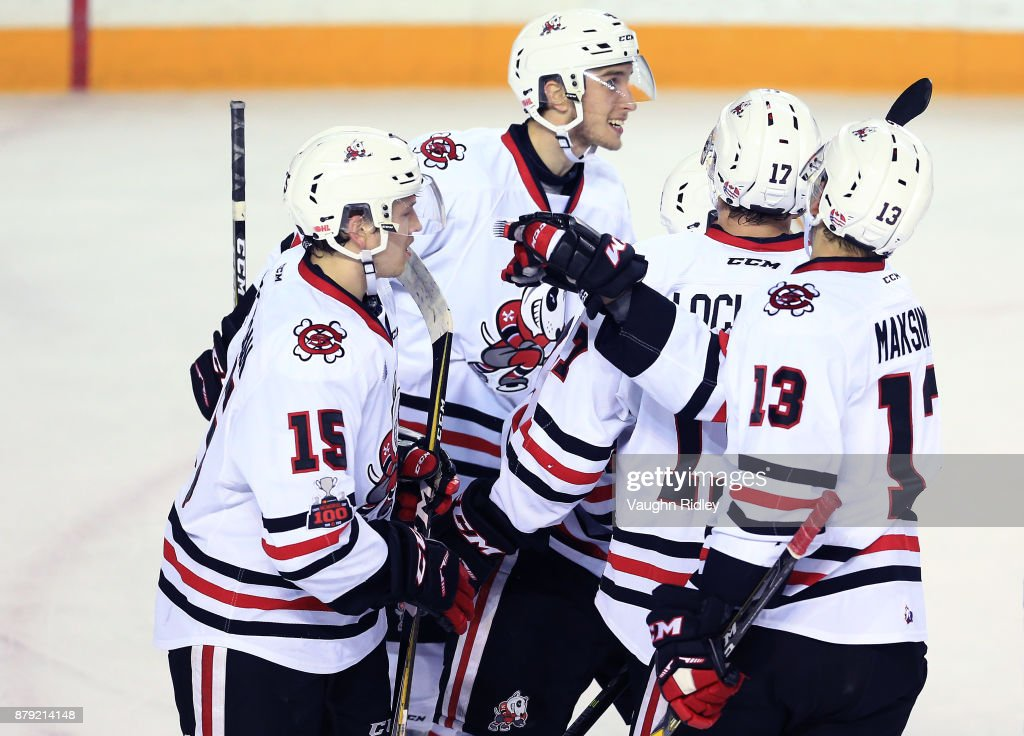 The Niagara IceDogs celebrate a goal by Akil Thomas #44 during the first period of an OHL game against the Mississauga Steelheads at the Meridian Centre on November 25, 2017 in St Catharines, Ontario, Canada.