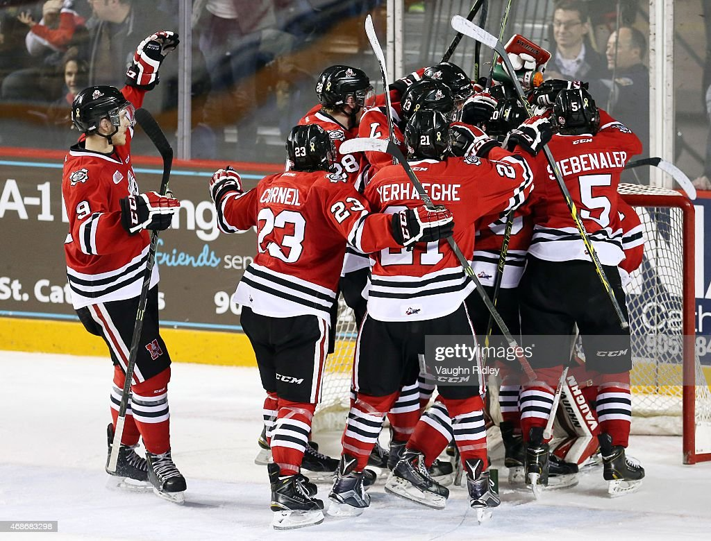 The Niagara IceDogs celebrate victory at the final whistle during Game 6 of the Eastern Conference Quarter-Finals against the Ottawa 67's at the Meridian Centre on April 5, 2015 in St Catharines, Ontario, Canada. The IceDogs win the series 4-2.